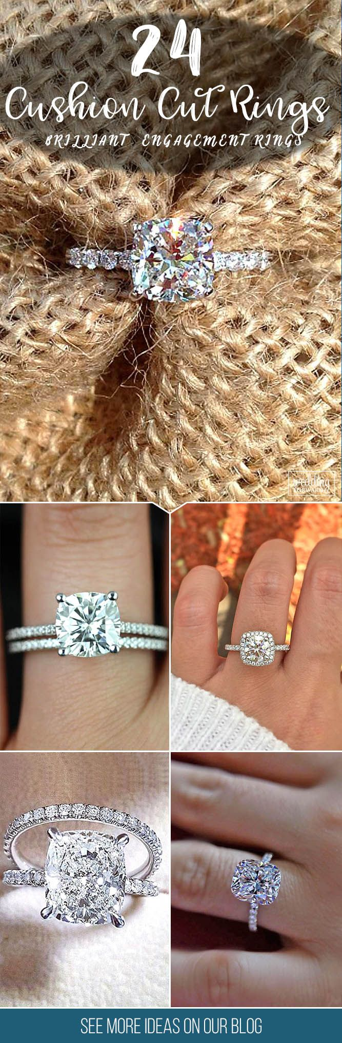 24 Brilliant Cushion Cut Engagement Rings ❤ Cushion cut engagement rings become more and more popular and it is not surprising because they can look not only modern, but also vintage, very popular among brides. See more: http://www.weddingforward.com/cushion-cut-engagement-rings/ #wedding #engagement #rings