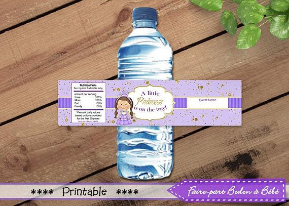 Baby Shower Little Princesse -  Water Bottle Label Wrappers - Little Princess labels - water bottle labels - Little Princess