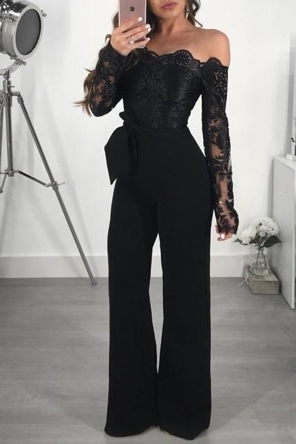 Lace Slash Neck Long Sleeve Jumpsuit (Different Colors Available)