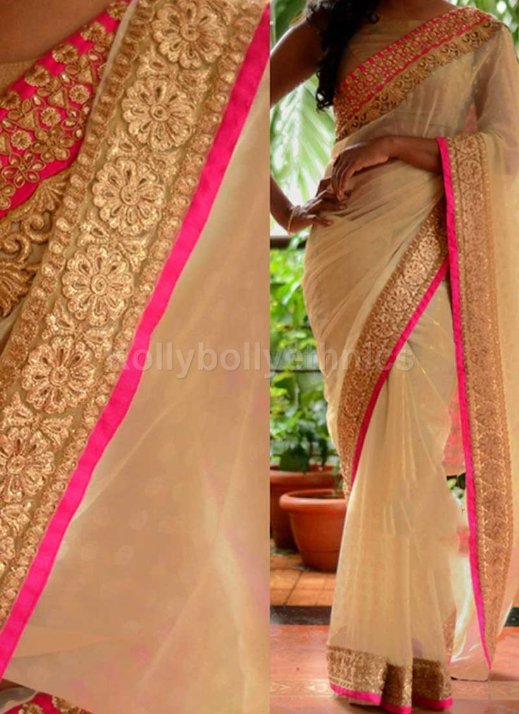 Shop Inspired style off white and pink color georgette party wear saree at…