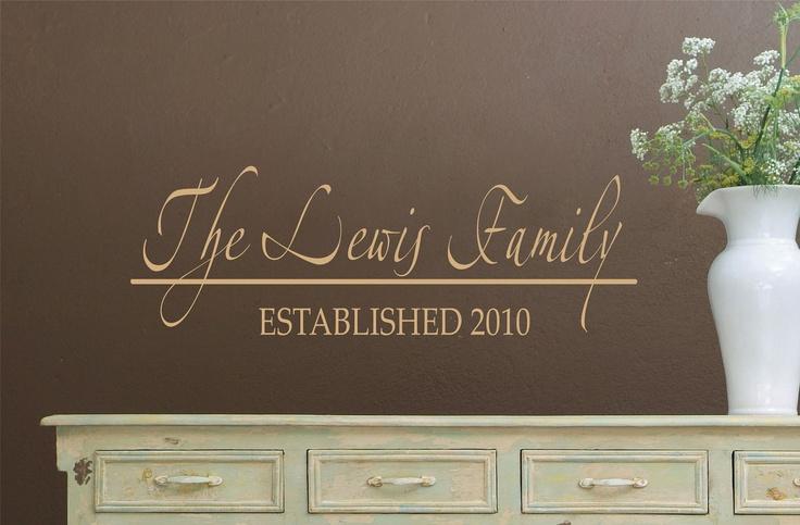 Family Name Vinyl Decal - Wedding Decorations - Personalized Vinyl Wall Decals - Family Name. $16.00, via Etsy.