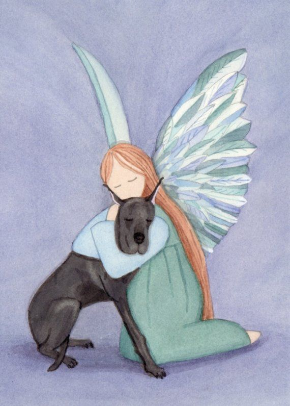 Angel and black great dane / Lynch signed folk by watercolorqueen