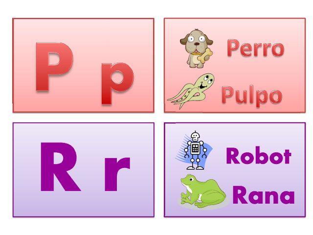 ABECEDARIO IMPRENTA. Letras P y R, minúscula y mayúscula. Perro, Pulpo, Robot, Ruana.