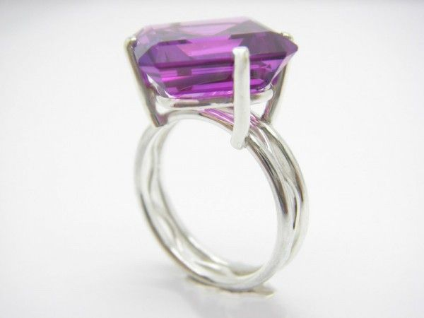 Cocktail ring. Sterling silver, amethyst, size 6 3/4.