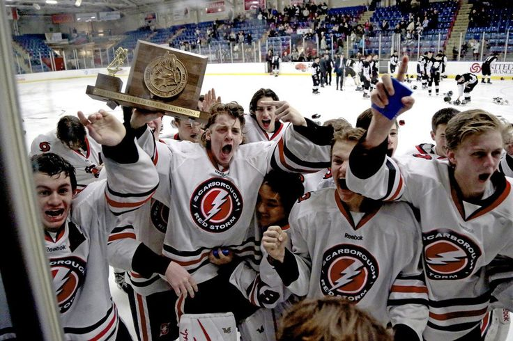 Goalie Ben Bragg and the rest of the Scarborough Red Storm celebrate their 2-1 double overtime victory over St. Dominic Academy in the Class A boys hockey final at the Androscoggin Bank Colisee in Lewiston, Saturday. Gabe Souza/Staff Photographer