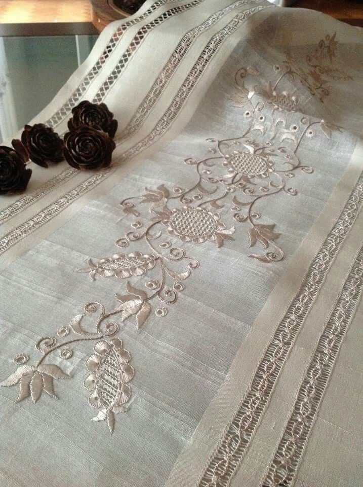 Table runner with embroidery fit for a kings table; great heirloom piece