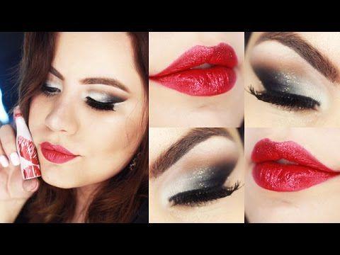 Makeup Cinza Degradê com Batom Vermelho Brilhante - Maquiagem Festiva <3 <3   blog http://www.pausaparafeminices.com/ Insta : https://instagram.com/brutavaresppf/