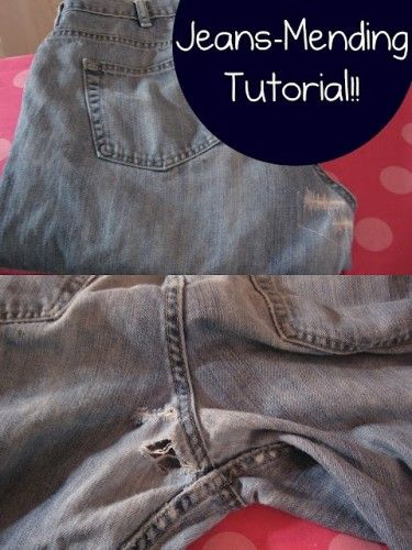 "How to fix old jeans with holes for the ""destroyed"" broken-in look. Pretty thorough DIY instructions using interfacing and a sewing machine."