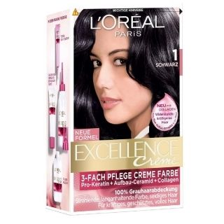 L'Oréal Excellence Crème 1 Zwart geeft 100% grijsdekking, versterkt en beschermt het haar met een rijke en levendige kleur.