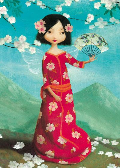 Red Fan Fairy Greeting Card by Stephen Mackey