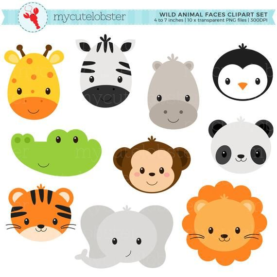 Wild Animal Faces Clipart Set Giraffe Crocodile Panda Lion Tiger Animal Faces Personal Use Small Commercial Use Instant Download Animal Faces Animals Wild Animal Clipart