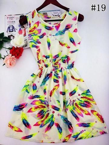 Floral Beach Dress (White) - Medium