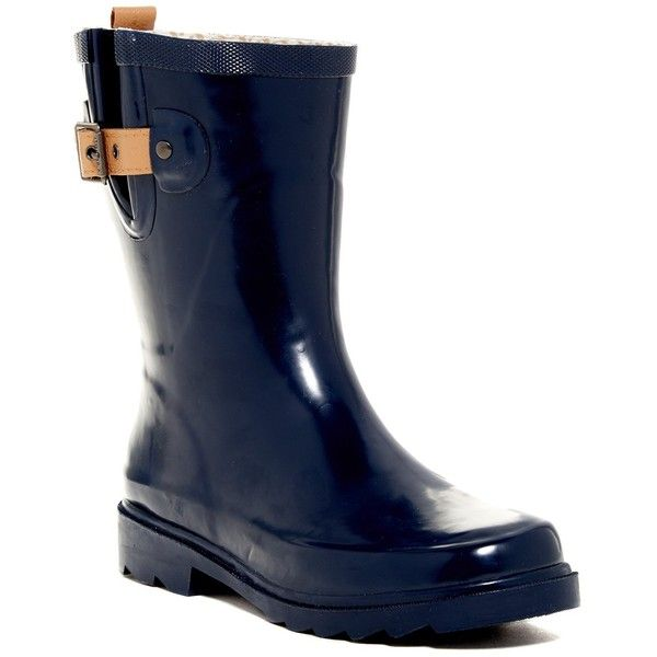 Chooka Top Solid Mid Waterproof Rain Boot ($40) ❤ liked on Polyvore featuring shoes, boots, midnight, chooka boots, platform shoes, platform boots, waterproof rain boots and low heel boots
