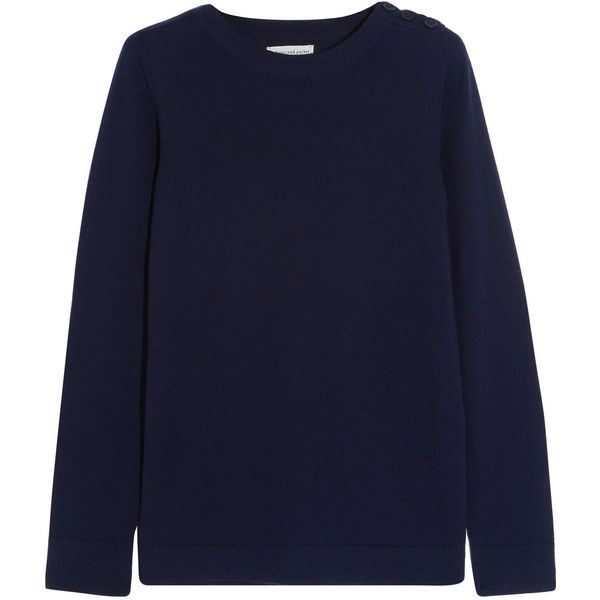 Chinti and Parker Faux suede-trimmed merino wool sweater ($440) ❤ liked on Polyvore featuring tops, sweaters, blue, chinti and parker sweater, elbow patch sweater, blue top, merino top i ribbed sweater
