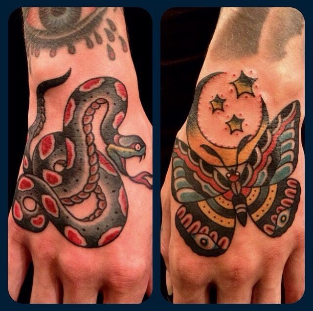 Paul Dobleman traditional old school snake bmothhand tattoo