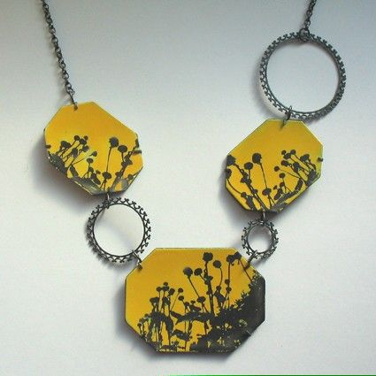 Sally Grant - Oxidised silver and yellow enamel necklace: Bespoke Jewellery, Necklaces Pendants, Image Transfer, Enamels Ideas, A Jewellery Enamels, Enamels Necklaces, Jewellery Edinburgh, Metalsmithing Necklaces, Yellow Enamels