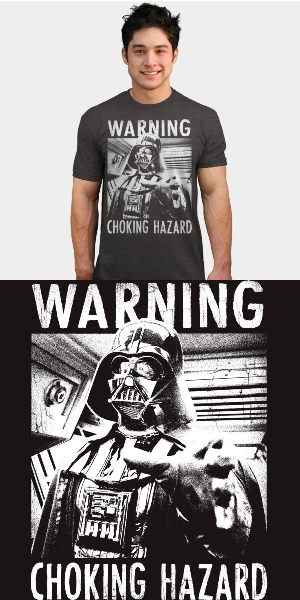 Darth Vader Choking Hazard T Shirt | Not many shirts come with a health warning, but this funny force choke tee does! Official Star Wars merchandise. | Visit http://shirtminion.com/2016/01/darth-vader-choking-hazard-t-shirt/