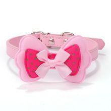 PU Cuir Collier de Chien Perro Pet Produits Animaux Collier De Mode Petit Chien Colliers Accessoires Pour Animaux Plomb Bowknot Mascotas Rose(China (Mainland))