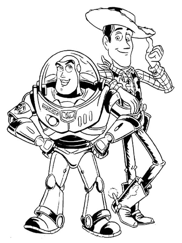 Disney Woody Coloring Pages : Woody and buzz lightyear coloring page kids