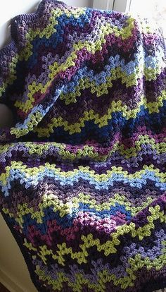 Granny ripple~this would make a gorgeous baby afghan! Also a good prayer shawl I think. Pattern comes from The Linus Project, so it is an opportunity for a charity project.