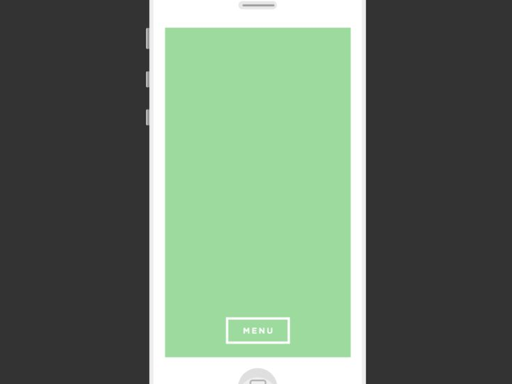 Concept for an iOS menu animation. The menu title changes depending on which screen you're on. The first screen you enter the app on will say MENU to provide a cue as to what the button is.