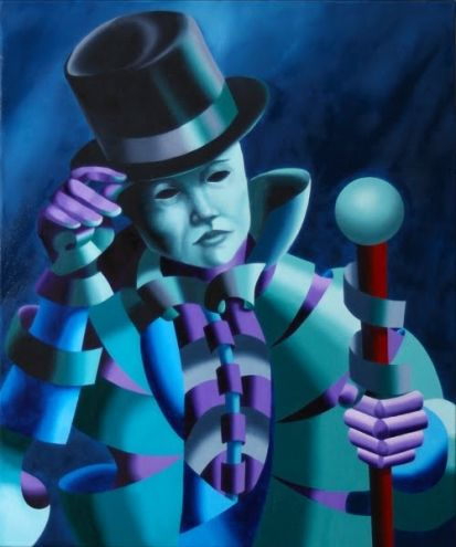 Mark Webster - Mask of the Magician - Abstract Geometric Futurist Figurative Oil Painting, painting by artist Mark Adam Webster