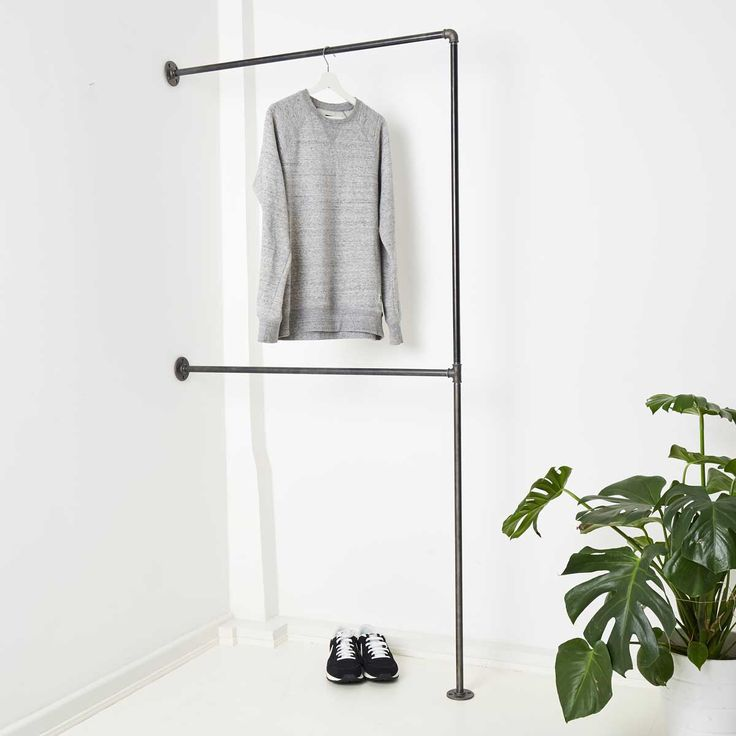 Minimalist clothes rack made of water pipe & malleable cast iron