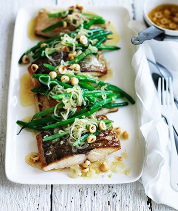 Neil Perry's Kingfish with green beans, hazelnuts and brown butter. less than 30 minutes to table.