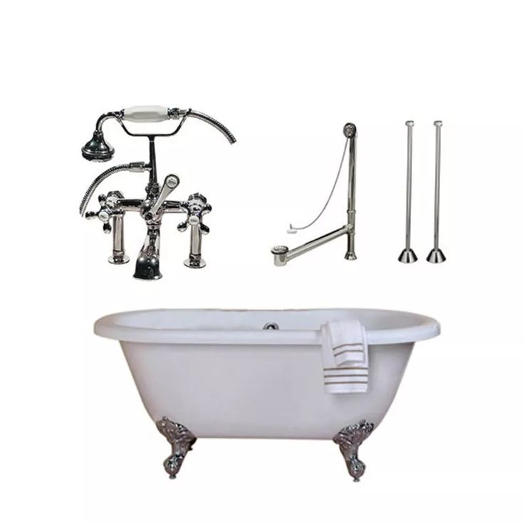 Randolph Morris Acrylic Tub and Faucet Package - 60-inch Double Ended Bathtub with Fixtures