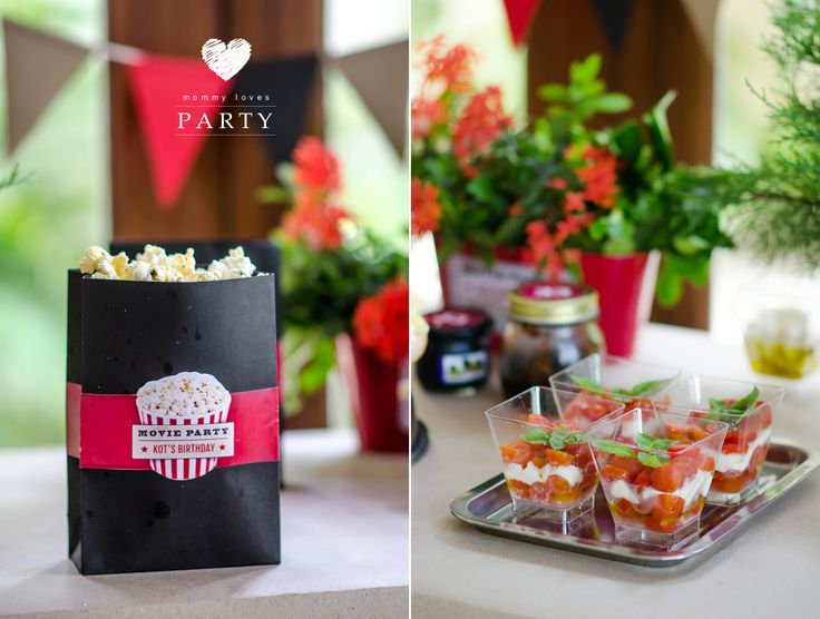 Personalized handmade Pop-corn bag for Movie theme party as surprise for Him, Movie on the lawn, cheese plate, salads, decorations for man's party in my blog.  Персональные пакеты для поп-корна. Вечеринка-сюрприз для мужа.