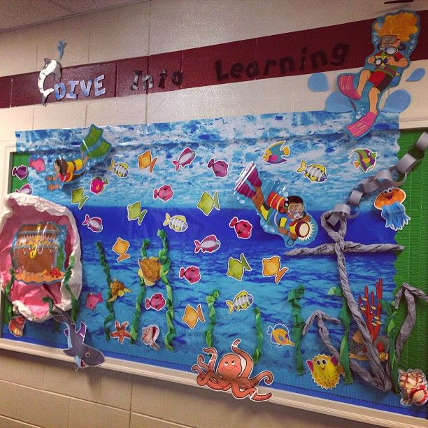 Dive Into Learning Ocean Bulletin Board Idea - I like the blue water paper in the background