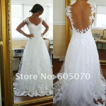 Vestido de novia sexy blanco appliqued sin respaldo Envío gratis por encargo de la manga hasta los pies