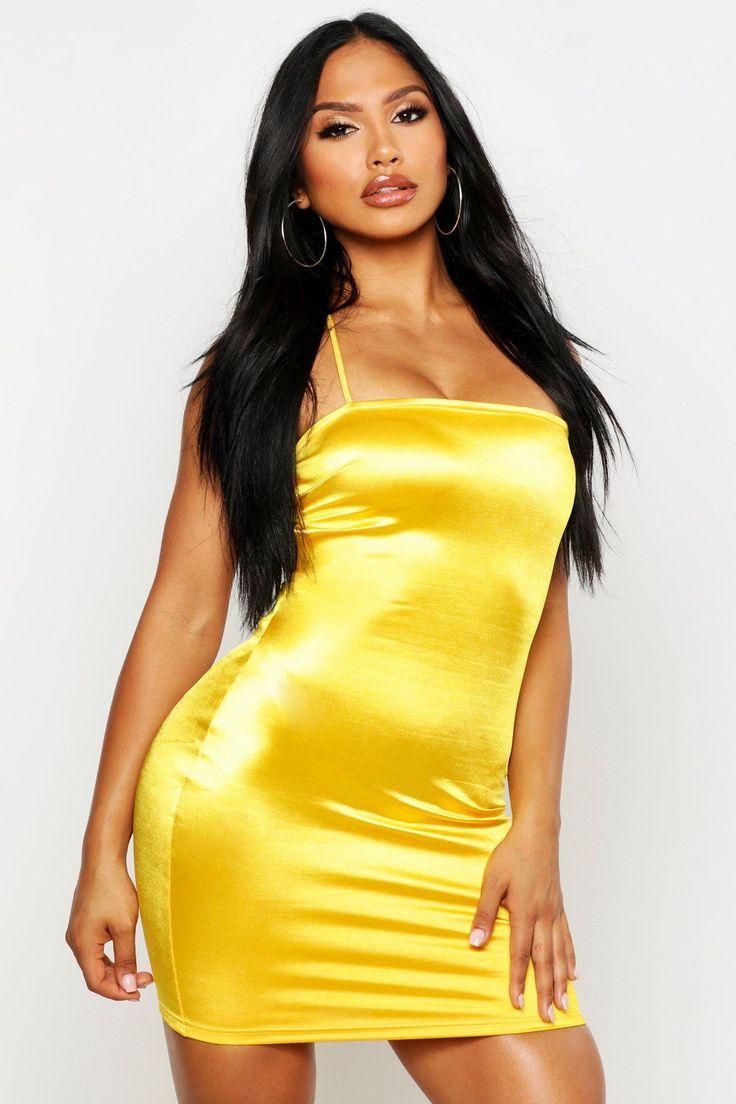 Womens Satin Square Neck Strappy Back Bodycon Dress – yellow – 8