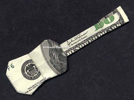 Dollar Bill Origami GUITAR - UKULELE - Made with a $100 bill. Designed by Jodi Fukumoto.