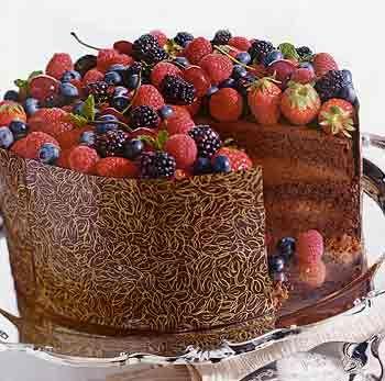 Triple Chocolate Celebration Cake - epicurious.com         Triple-Chocolate Celebration Cake Photo  at Epicurious.com