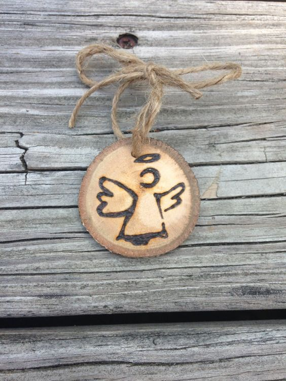 Angel Wood Burned Ornament by downtoearthcraft on Etsy: