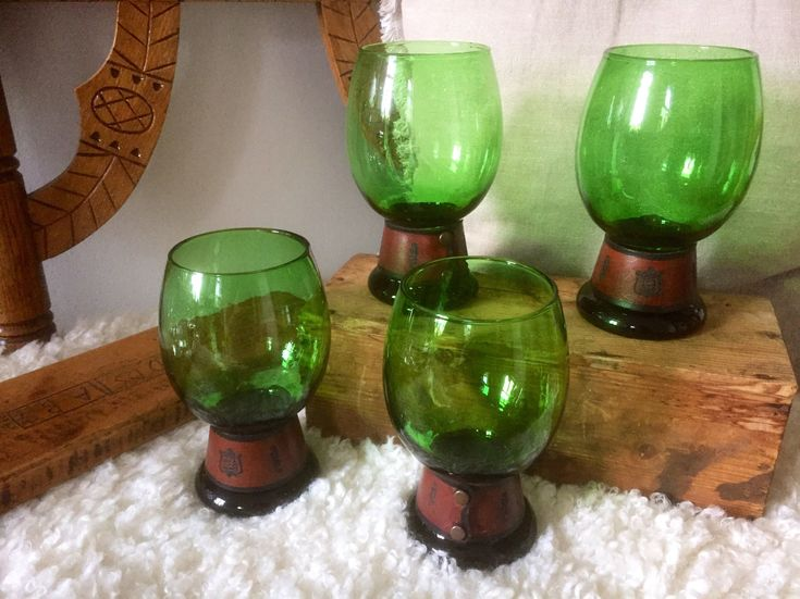 Set of 4/ Scandinavian/beer/glasses/stileins/glasses/goblets/handblown/swedish/leather/cuff/detail/pint/craft beer by WifinpoofVintage on Etsy