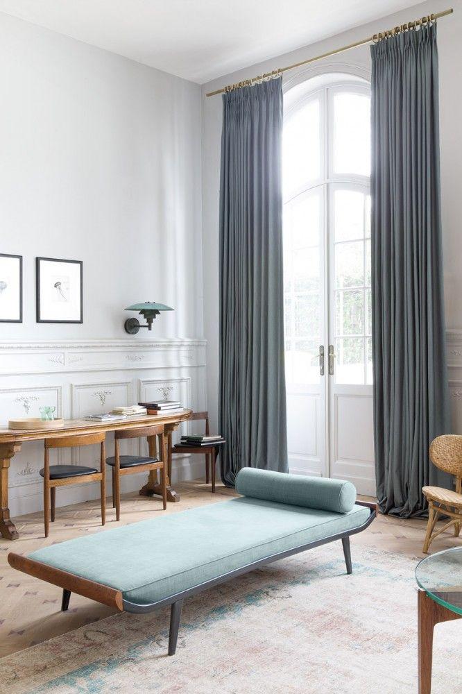 overgordijn blauw grijs gordijn - rideaux - curtains - Copahome raamdecoratie