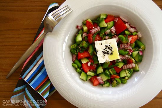 Two Summer salads: Purslane salad with a yogurt, garlic and ginger dressing  Turkish Shepherd's salad