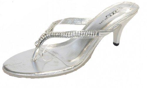 Low Heel Flip Flops Ladies Silver Diamonte Toe Post Flip
