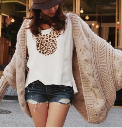 Korean version of the bat sleeve knit sweater lady loose thick shawl