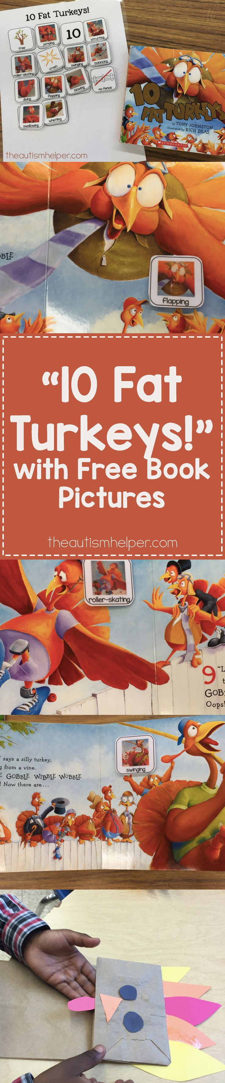 """10 Fat Turkeys"" is visually exciting & pairs well with activities. Get your kiddos gobbling & flapping with this great book! From theautismhelper.com #theautismhelper"