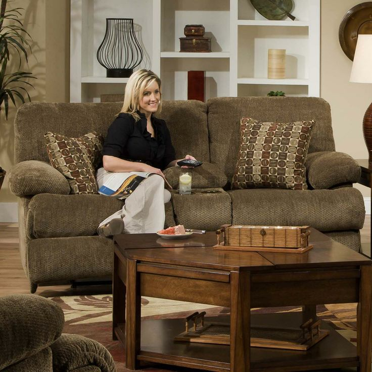 Catnapper Furniture: Harbor Collection featuring Power Reclining Loveseat with Console for Beverages. #den #familyroom