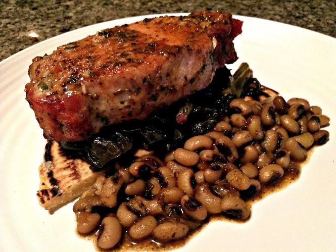Dish: Maple Herb Glazed Pork Chop with Cumin Spiced Black Eyed Peas ...