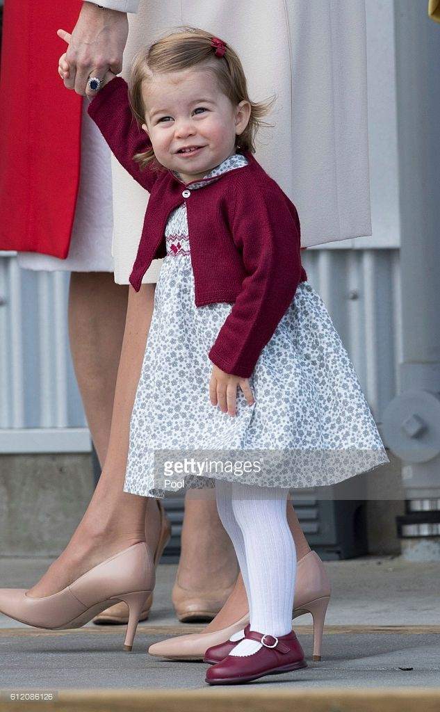 Princess Charlotte leaves from Victoria Harbour to board a sea-plane on the final day of their Royal Tour of Canada on October 1, 2016 in Victoria, Canada. The Royal couple along with their Children Prince George of Cambridge and Princess Charlotte are visiting Canada as part of an eight day visit to the country taking in areas such as Bella Bella, Whitehorse and Kelowna