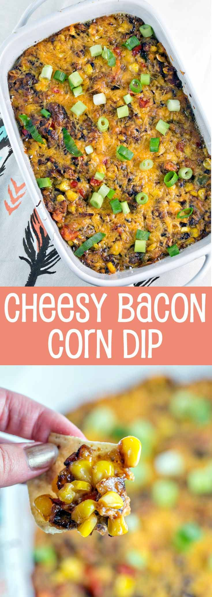 Cheesy Bacon Corn Dip: perfect for game day or a party, this gluten free make-ahead dip is a crowd favorite! {Bunsen Burner Bakery}