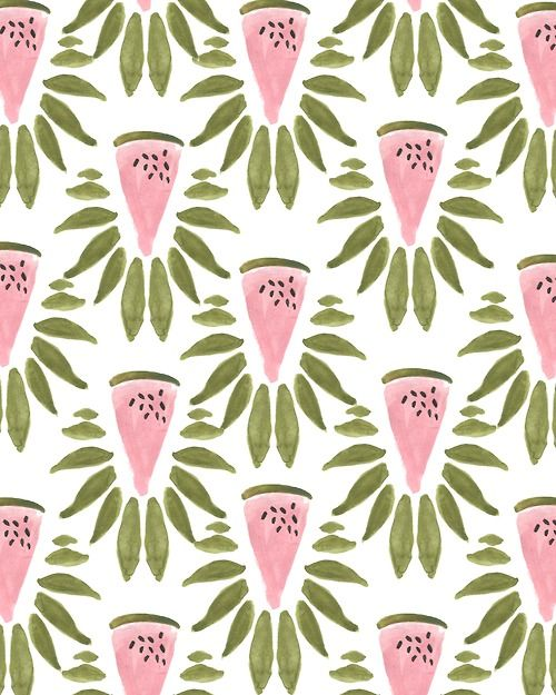 Watermelon and Leaves Print by Kendra/Bouffants and broken hearts