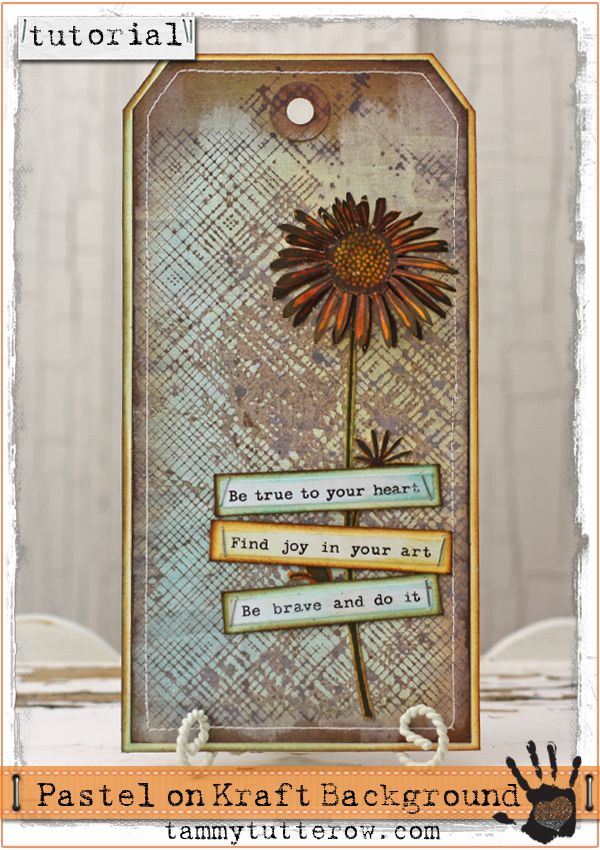 Tammy Tutterow Tutorial: Pastel Background on Kraft Cardstock. DIY Crafting tutorial featuring Tim Holtz Picket Fence Distress Inks, Ranger Ink, Hero Arts, and Cosmo Cricket.