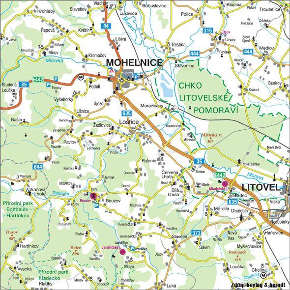 Mapa nejbližšího okolí Loštic.