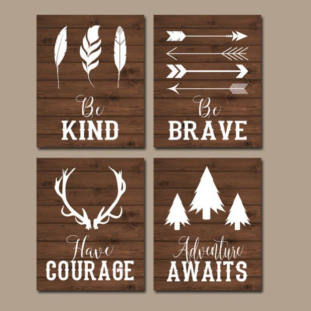 WOODLAND QUOTE Wall Art, CANVAS or Print Boy Nursery Decor, Tribal Nursery, Be Brave, Be Kind, Have Courage, Woodland Sayings Set of 4 Decor